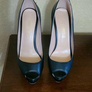 Merumote peep toe black heels